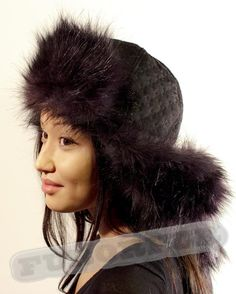 0834f1e7b76 Faux Fur   Embossed Fabric Long Ears Winter Hat with Pom Poms