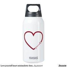 Love yourself heart minimalistic design insulated water bottle