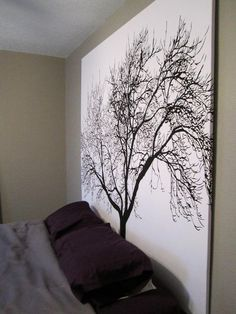 """DIY Headboard Using Popular Tree Shower Curtain. No tutorial, pinned directly onto Pinterest here. But easy to make: staple the shower curtain to a wooden frame (plywood this size is really expensive). To find this shower curtain google """"Tree Shower..."""