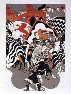 Duilio Cambellotti. Comparsa della Contrada della Lupa(1932). Su http://www.flickr.com/photos/iltesorodisiena/8289686746/in/photostream