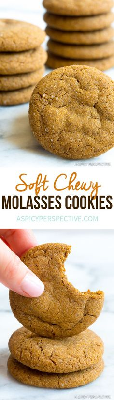 Soft Chewy Molasses Cookies Recipe - A tender gingersnap cookie recipe, perfect for holiday cookie platters! A cookie exchange offering everyone will love! Brownie Cookies, Cookie Desserts, Just Desserts, Cookie Recipes, Delicious Desserts, Dessert Recipes, Yummy Food, Holiday Baking, Christmas Baking