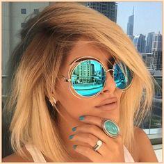 6451ed3341 Luxury Round Sunglasses Women Brand Designer 2018 Vintage Retro Oversized  Sunglass Female Sun Glasses For Women
