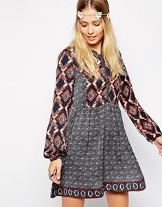 Pepe Jeans Peasant Dress With Contrast Print