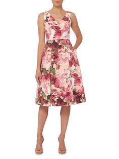 Sleeveless v neck fit and flare tea dress