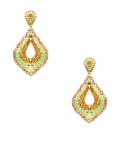 """$335       155    Simulated Prehnite Open Teardrop Earrings by Miguel Ases  14K yellow gold fill and 18K yellow gold-plated brass open teardrop-shaped earrings with simulated prehnite, simulated topaz, Swarovki crystal, and Miyuki bead details      Post back closure  Measurements: 2¾"""" long, 1½"""" at widest point  Brand: Miguel Ases  Material: 14K yellow gold fill, 18K yellow gold-plated brass, Swarovki crystal, simulated prehnite, simulated topaz, and glass"""