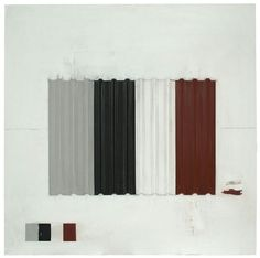 """Tom Miller """"Grey, Black, White And Red"""" acrylic and collage on canvas"""