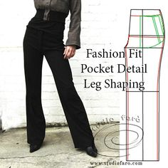 First stage Trouser Patterns - Fly, Pocket, Waistbands, leg shape. http://www.studiofaro.com/book-introductory-workshops #sydney #patternmaking