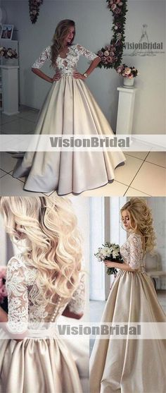 Unique Champagne A-Line V-Neck Half-Sleeves Lace Top Satin Wedding Dress,Long Covered Button Bridal Gown,unique bridal gown, Charming Wedding Dresses, VB0925 #weddingdresses #weddingdress