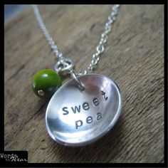 Jewelry For Sale   Hand Stamped Sweet Pea Necklace Sterling Silver   ArtsyHome