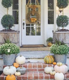 fall pumpkins, mums, and rustic planters