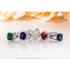 Emeralds, Sapphires & Rubies... Have we expressed how much we love our color?! All rings pictured are available in store.  #Emerald #sapphire #ruby #julybirthstone #diamond #marquisediamond #colorchangesapphire #unique #engagementring #sapphirering #emeraldring #rubyring #proposal #modern #halo #diamondhalo #burmaruby #columbianemerald #carlsbadvillage #showmeyourrings #instore #instajewelry #ringsofinstagram