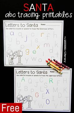 christmas activities These Santa themed letter tracing printables are a great Christmas activity for kids to learn letter formation and practice the letters of the alphabet! Christmas Activities For Kids, Preschool Christmas, Christmas Worksheets, Christmas Ideas, Christmas Holiday, Christmas Crafts, Preschool Winter, Christmas Printables, Holiday Ideas