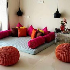 Love this idea of taking traditional floor seating and creating so much colour and vibrancy to it @tamanna_chopra3649 Drop by for cushions that can make your living room special too. #beautifulhomesindia #apartment #apartmenttherapy #livingroom #floorseating #modern #condominium #inspired #cushions #mirador #miradorlife #ModernHomeDecorLivingRoom