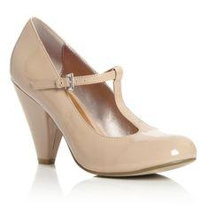 Head Over Heels Ladies CAMILLE - Patent T-Bar Court Shoe - nude   Dune Shoes Online