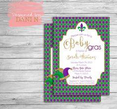 Mardi Gras invitation Baby Shower. Mardi Gras Party invites. Baby gras Green, Purple and Gold. massacred party, gender neutral DIY