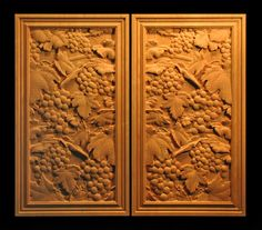 wine grapes carved panel