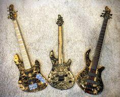 Mayones Guitars Basses Jabba 5 Buckeye Burl, Regius 6 Buckeye Burl and Patriot 5 Buckeye Burl