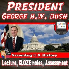 President George HW Bush | Presentation Lecture | NOTES | MEME | Print & Digital Middle School Us History, George Hw, Hw Bush, Teaching Secondary, History Classroom, Formative Assessment, Review Games, Creative Teaching, Teaching Strategies