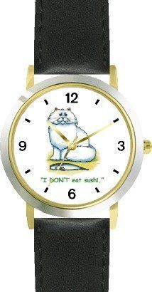White Persian Cat & Fish - Cat Cartoon or Comic - JP Animal - WATCHBUDDY® DELUXE TWO-TONE THEME WATCH - Arabic Numbers - Black Leather Strap-Size-Children's Size-Small ( Boy's Size & Girl's Size ) WatchBuddy. $49.95. Save 38% Off!