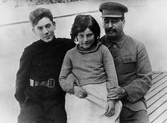 Stalin with 2 of his children, Vassili and Svetlana, 1935. a few years after their mother's death in the midst of the Great Terror. Stalin doted on Svetlana when she was little. Vassili was afraid of him. Their mother brought up the terrible suffering in the Ukraine as a result of the famine he had engineered. They quareled and he later beat her in public. Unclear what happened next. Most people think she shot herself. Others believe that Stalin shot her. Svetlana later reported a suicide…