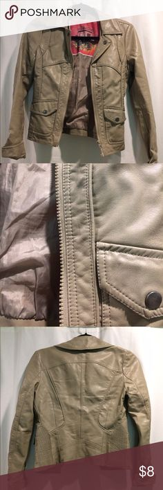 Faux Leather Beige Jacket My favorite leather jacket! Unfortunately it is too small on me now but is so versatile I would wear it with every outfit. Jackets & Coats