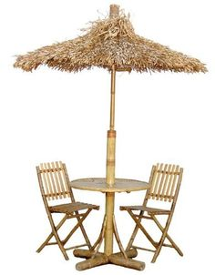 Bamboo 54 Bamboo Palapa 4 Piece Outdoor Set by Bamboo. $317.79. Color: Natural. Patio Furniture Set. Exotic Bamboo Construction. This item ships common carrier.. Size: Sizes Vary. Turn your backyard into an island adventure with this 4 piece bistro set by Bamboo54. Made from real bamboo, the 4 Piece Bistro Set with Palapa Umbrella includes 2 chairs, an umbrella accented in dried palm leaves, and table. Need to add more pieces to your collection? Extra chairs are...