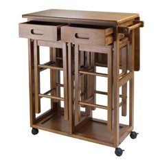 Rolling Kitchen Island Table Bar Stools Portable Wood Utility Cart Counter Top in Home & Garden, Kitchen, Dining & Bar, Kitchen Islands & Carts | eBay