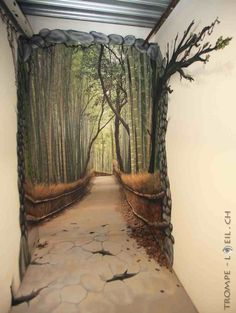 Cool hand painted mural creating an illusion of a bamboo lined path at the end of a hallway. Cool hand painted mural creating an illusion of a bamboo lined path at the end of a hallway. Plan Wallpaper, Wallpaper Ideas, Closet Wallpaper, Bamboo Wallpaper, Tree Wallpaper, Nature Wallpaper, Mural Art, Wall Art, Tree Wall Murals
