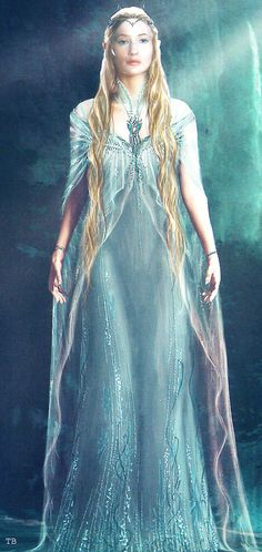 "Concept art for Galadriel from ""The Hobbit: An Unexpected Journey"" (2012).  The gown as completed for filming was a simple silk chiffon fabric with light beading, a cowl neck and a more streamlined silhouette."