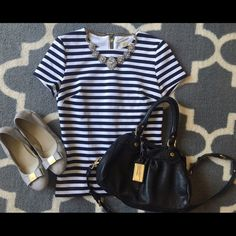 Striped Michael Kors Top -Sold out everywhere- worn once, excellent condition. Michael Kors Tops