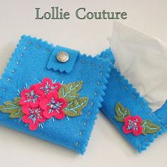 Turquoise Needle Book Felt Organizer with Flowers by lolliecouture, $28.00