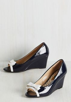 Tearoom Mates Wedge in Navy. Classic like a cup of Darjeeling, these darling navy wedges are your favorite choice for chic afternoons. #blue #modcloth