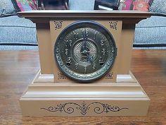 "Antique F. KROEBER ""Hungaria"" IRON CASE MANTLE CLOCK - Circa 1880's - Works - http://collectibles.goshoppins.com/clocks/antique-f-kroeber-hungaria-iron-case-mantle-clock-circa-1880s-works/"