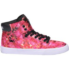 Supra Vaider Printed Sneakers ($65) ❤ liked on Polyvore featuring shoes, sneakers, round cap, round toe sneakers, rubber sole shoes, supra footwear and supra shoes