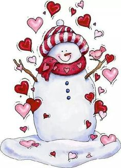 snowman with hearts. Perfect for a Valentine's day print :) Snowman Clipart, Christmas Clipart, Christmas Printables, Christmas Pictures, Christmas Snowman, Christmas Time, Christmas Graphics, Christmas Stocking, Frosty The Snowmen