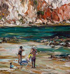 © Nicholas Harding ~ Estuary figures (swim-ring, towel and hat) ~ 2013 oil on Belgian linen at Tim Olsen Gallery Sydney Australia