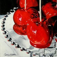 Candy Apple Red by Carrie Waller Watercolor ~ 6 x 6