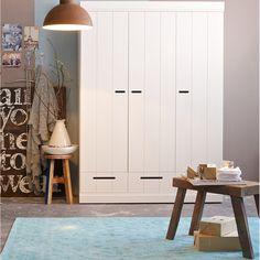 Contemporary Cupboards connect contemporary 3 door wardrobe with storage in concrete grey