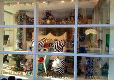 SM Home December 2014 Window Display. www.sandramorganinteriors.com Retail Boutique, Retail Shop, Front Windows, December 2014, Retail Design, Display, Gallery, Creative, Artwork