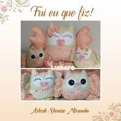 Corujas feitas com tecidos da coleção Sweet Hearts pela artesã Denise Miranda do Atelier Lumare.