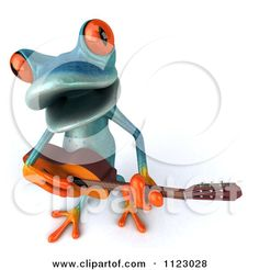 Clipart Of A 3d Turquoise Springer Frog Guitarist 2 - Royalty Free CGI Illustration by Julos