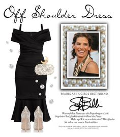 """""""Off Shoulder Dress"""" by conch-lady ❤ liked on Polyvore featuring Dolce&Gabbana, Benedetta Bruzziches, Casadei, SandraBullock, offshoulderdress and pearlsareagirlsbestfriend"""