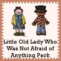 Free Little Old Lady Who Was Not Afraid of Anything Pack - over 70 pages of… Nursery Rhymes Preschool, Fall Preschool Activities, Preschool Books, Language Activities, Halloween Activities, Reading Activities, Abc Kindergarten, Preschool Centers, Theme Halloween