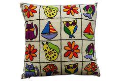 Summertime Crewel Pillow on OneKingsLane.com