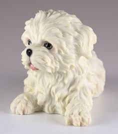 White Maltese dog figurine Finely detailed, high quality polystone resin Part of the Ode To Wild Life Collection by Veronese Studios. Havanese Puppies, Maltese Dogs, Baby Puppies, Polymer Clay Animals, Cute Polymer Clay, Polymer Clay Crafts, Biscuit, Dog Haircuts, Dog Hairstyles