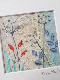 Textile Art 680817668654568845 - Source by haticeoyaakn Embroidery Cards, Free Motion Embroidery, Embroidery Applique, Embroidery Stitches, Embroidery Designs, Fabric Cards, Fabric Postcards, Thread Art, Thread Painting
