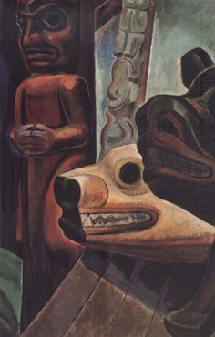Three Totems by Emily Carr Handmade oil painting reproduction on canvas for sale,We can offer Framed art,Wall Art,Gallery Wrap and Stretched Canvas,Choose from multiple sizes and frames at discount price. Tom Thomson, Canadian Painters, Canadian Artists, Emily Carr Paintings, Vancouver Art Gallery, House Painter, Native American Art, Native Art, Impressionist Paintings