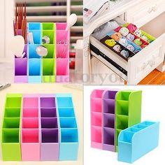 Plastic Organizer Kitchen Tableware Drawer Cosmetics Socks Tie Bra Storage Box