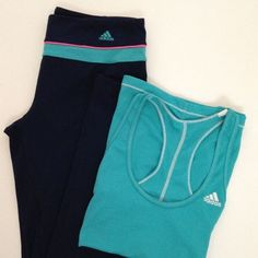 Adidas workout/yoga set Includes: Navy, aqua, and pink Adidas climalite athletic pants and coordinating aqua Adidas athletic tank. Gently used but still in good condition. Both pieces are size small. Adidas Pants Track Pants & Joggers