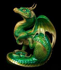 "WINDSTONE EDITIONS ""GOLDEN EMERALD #1"" SCRATCHING DRAGON FIGURINE, STATUE #dragonstatue"